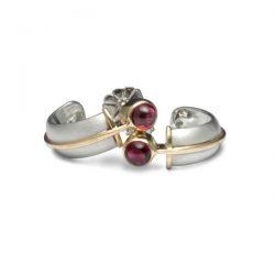 silver and gold garnet set earring hoops