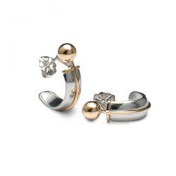 half hoop earrings in silver and gold