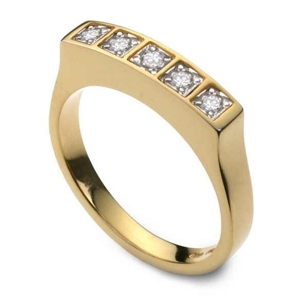 Gold and diamond dress ring