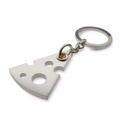 Cheesy key ring in silver and gold
