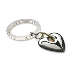 Heavy heart silver key ring in with gold detail