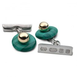 Ladies malachite cufflinks in silver and gold