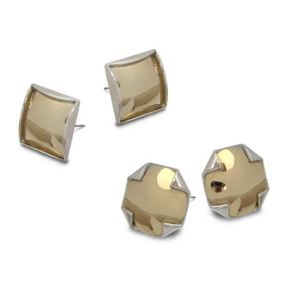 Silver and gold earring studs