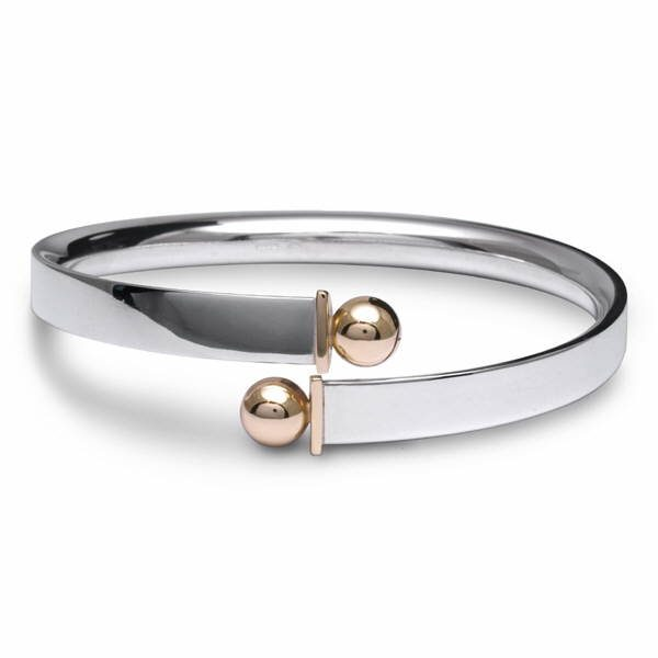 heavy silver and gold bead torque bangle