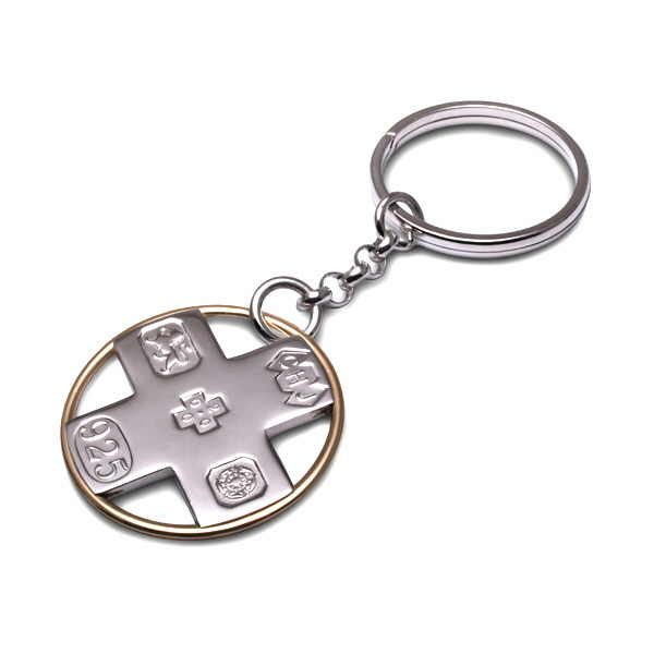 Millennium key ring in silver and gold