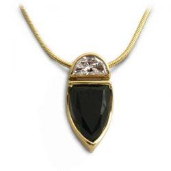 Unusual moonrise pendant in half moon diamond and onyx
