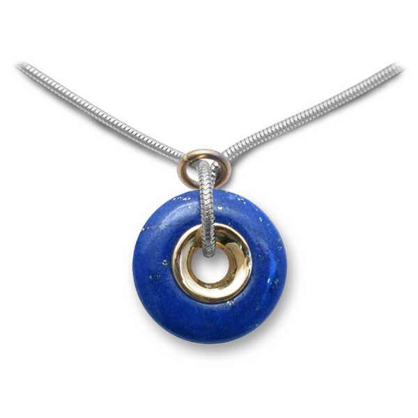 lapis polo pendant in silver and gold