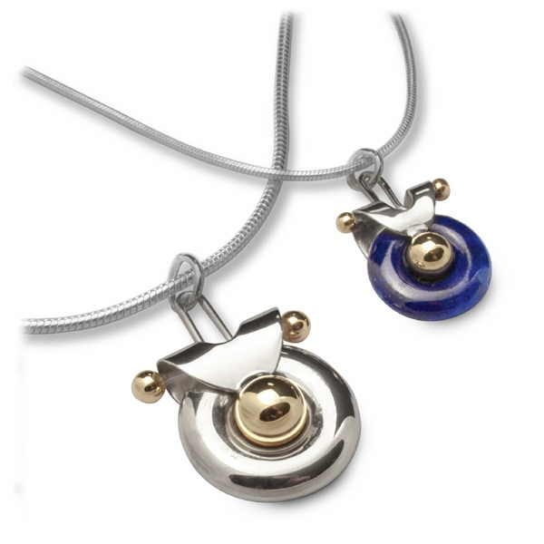 Unusual polo pendants in silver and gold with lapis