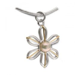 pearl flower pendant in silver and gold