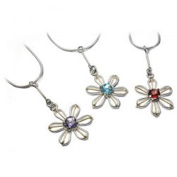 Silver and gold flower pendants in silver and gold
