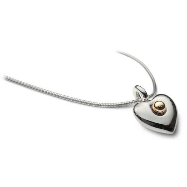 Small heart necklace in silver and gold
