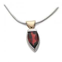 Flame pendant in silver, gold and garnet