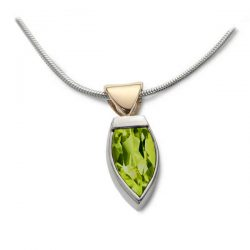 Flame pendant in silver gold and peridot