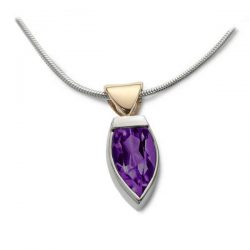 flame pendant in silver, gold and amethyst