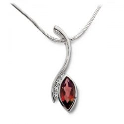 Swerve pendant in silver, diamonds and garnet marquise