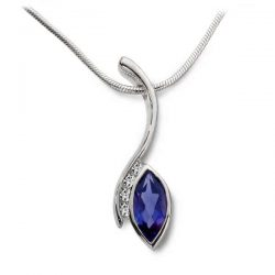Swerve pendant in silver, diamonds and iolite marquise