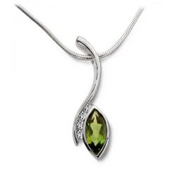 Swerve pendant in silver, diamonds and peridot marquise