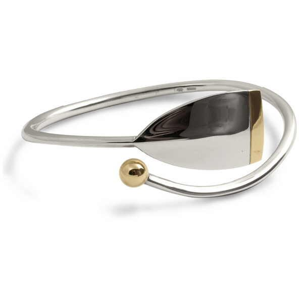 oar bangle in silver and gold