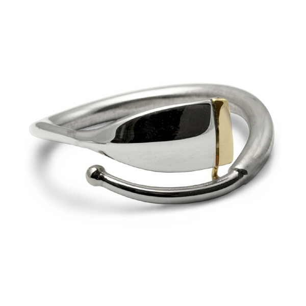 Silver and gold oar blade ring