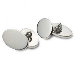 Heavy silver oval double cufflinks
