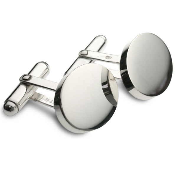 Silver oval swivel back cufflinks