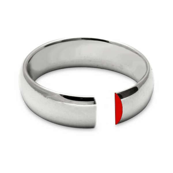 Plain d section silver ring