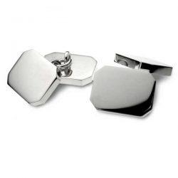 Heavy silver rectangular double cufflinks