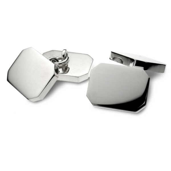 Heavy silver rectangular double cufflinks