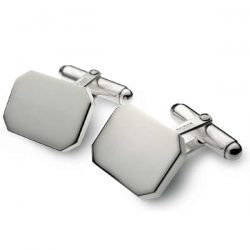 Silver rectangular swivel back cufflinks
