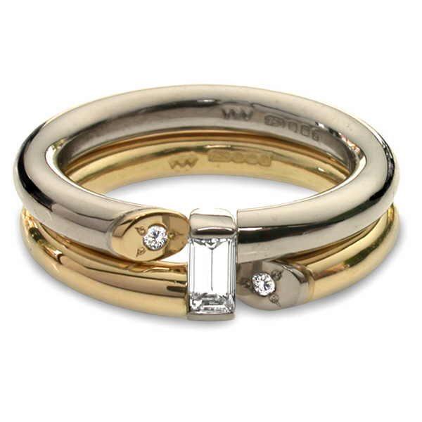 Unusual diamond baguette rings