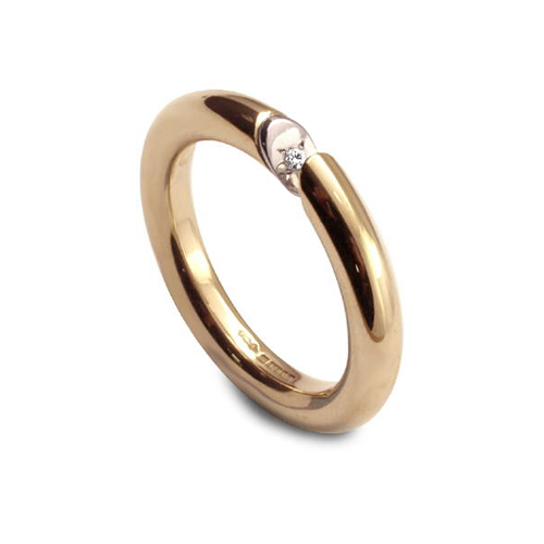 Gold diamond slice ring