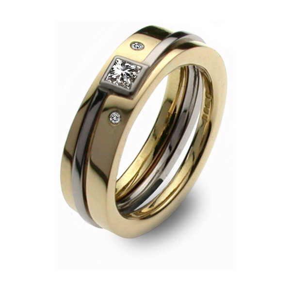 Gold and diamond three part princess ring