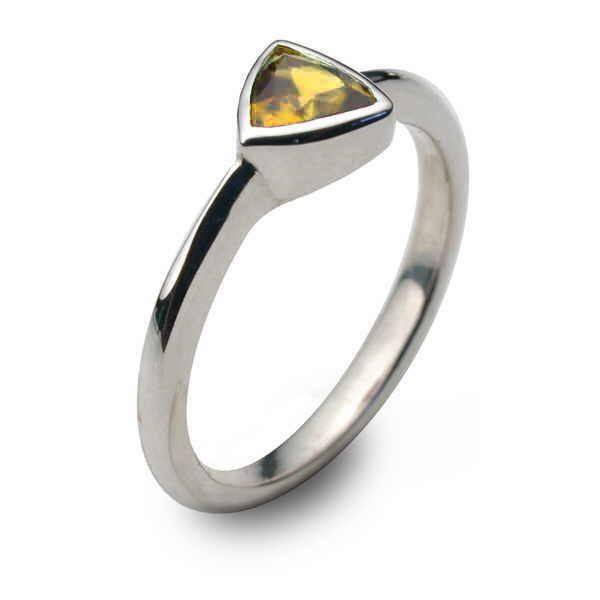 simple citrine trillion ring