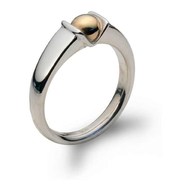 Contemporary ring in silver with gold bud