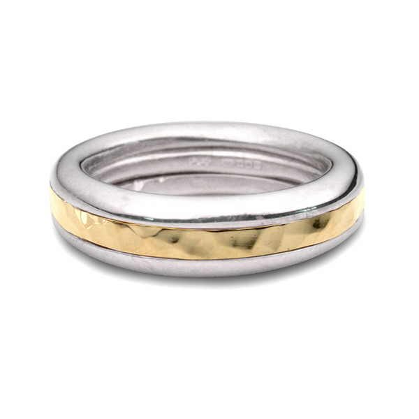 Silver and hammered gold Twist ring