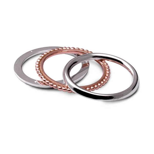 Rose gold and silver twist ring