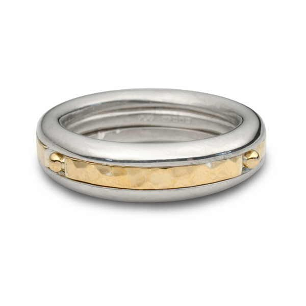 Beaded silver and gold twist ring