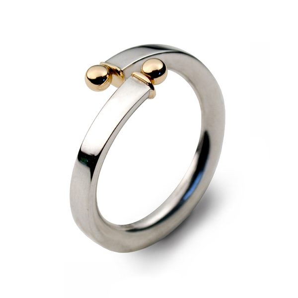 Bead torque ring in silver and gold