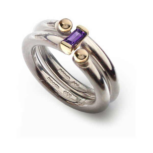 Interlock amethyst ring set