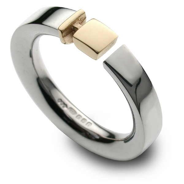 silver and gold Belt ring