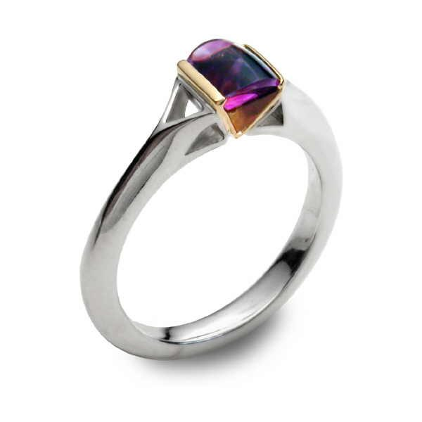 Stained glass ring with amethyst