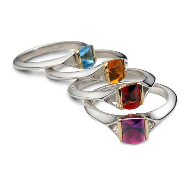 All stained glass rings in silver and gold