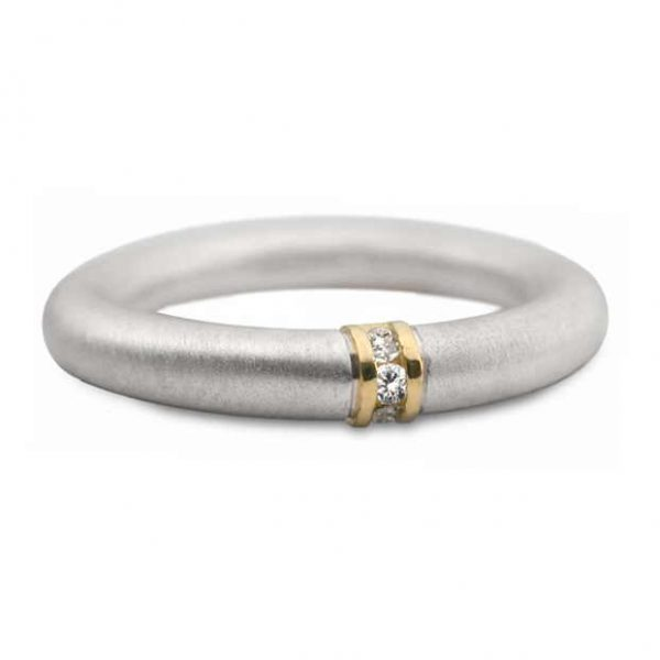 Silver and gold channel set ring