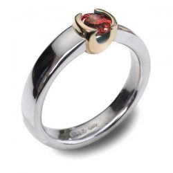 Gold cup garnet ring in silver and gold