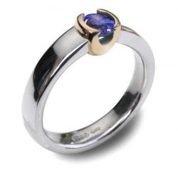 Gold cup iolite ring in silver and gold