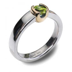 Gold cup peridot in silver and gold
