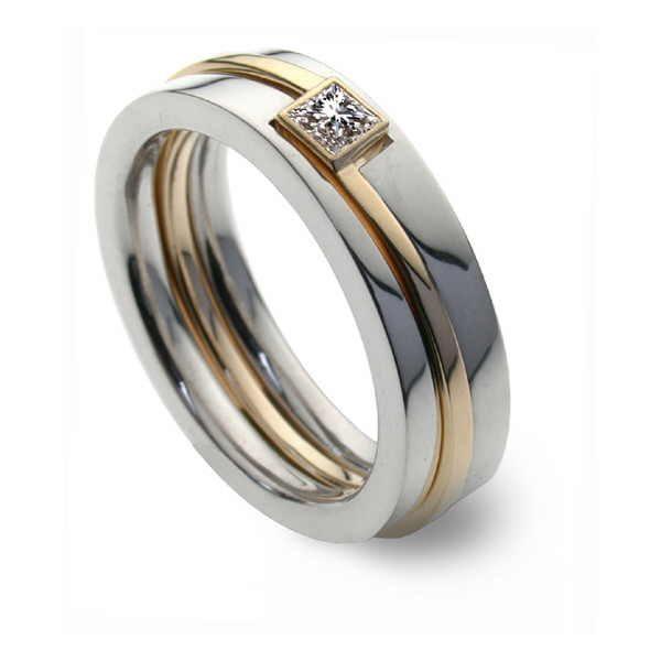 Three part princess diamond ring set