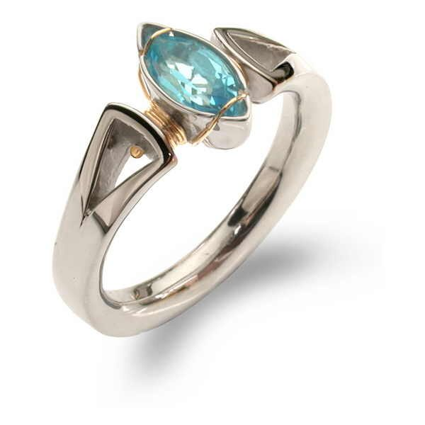 Blue topaz marquise set ring