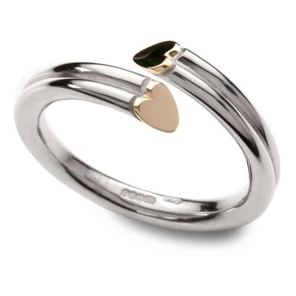 Straight heart section ring in silver and gold