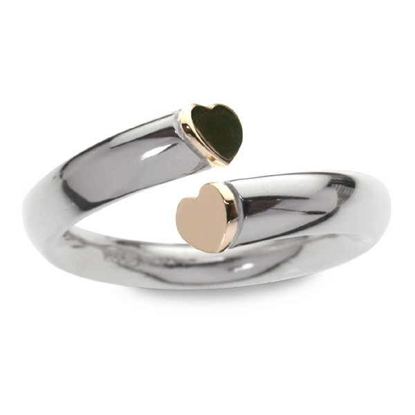 Heart section ring in silver and gold